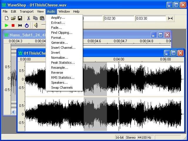waveshop audio menu